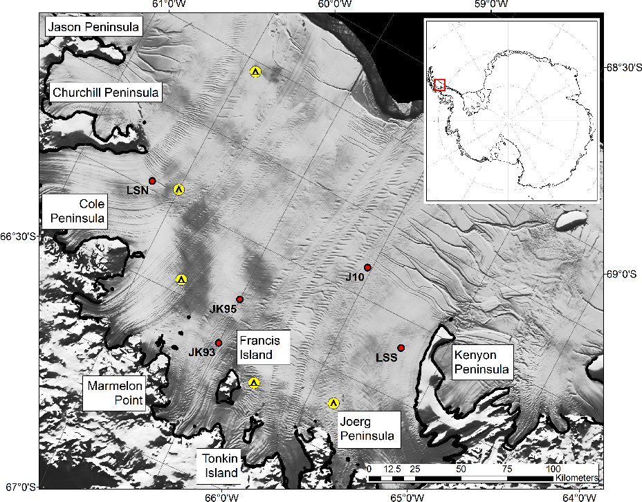 Fig. 1. Larsen C Ice Shelf with MODIS image (Haran et al., 2005) annotated with the main geographical features referred to in the text. Seismic field camps in yellow. Red circles are sites of previously measured ice thickness and water depth: JK93 Seismic (King et al., 1993); JK95 Seismic (Jarvis and King, 1995); LSN/LSS BAS Moorings (Nicholls et al., 2012); J10 Seismic (Kulessa et al., 2010). The grounding line as derived from dInSAR data (Rignot et al., 2011) is represented by the thick black coastline.