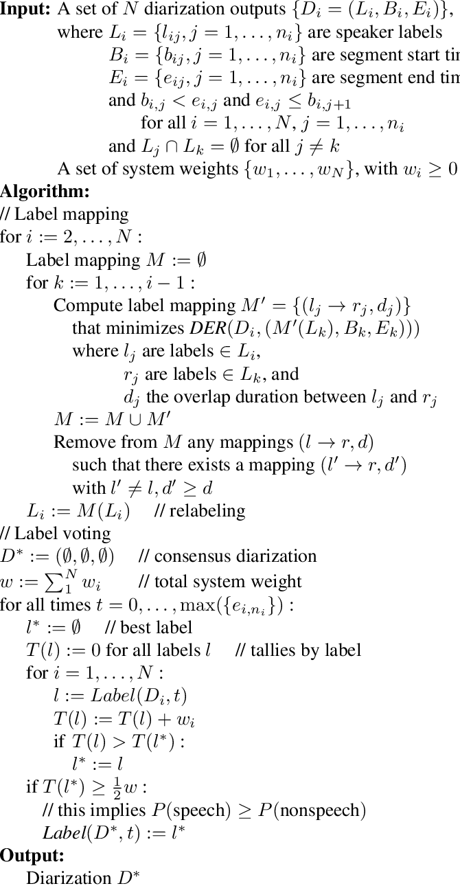Figure 1 for DOVER: A Method for Combining Diarization Outputs