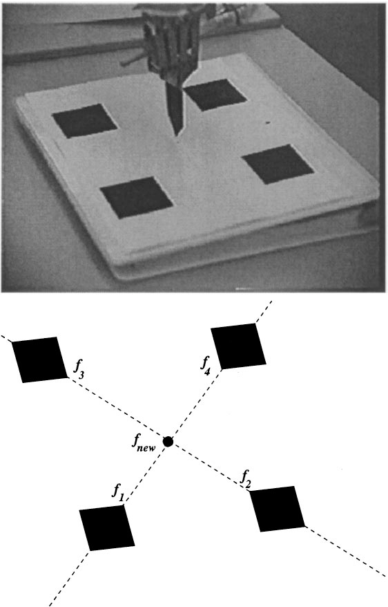 Figure 3. On the top, a midpoint placement task to be performed. On the bottom, the midpoint construction used to describe the task in a manner which permits accurate task performance.