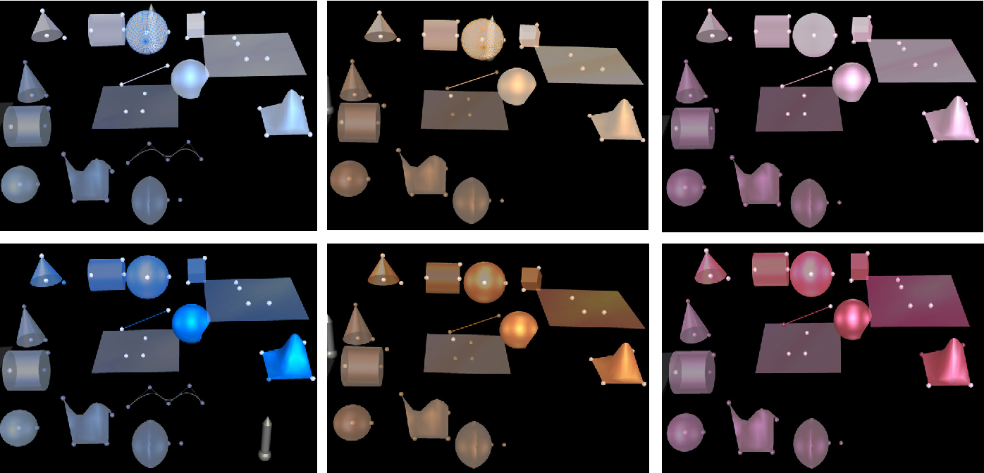Figure 7: Three Construct3D color sub-spaces for selected / deselected / active layer and inactive layer colors.