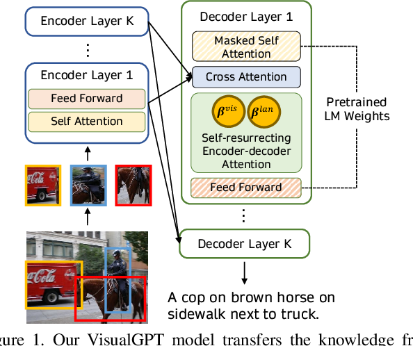 Figure 1 for VisualGPT: Data-efficient Image Captioning by Balancing Visual Input and Linguistic Knowledge from Pretraining