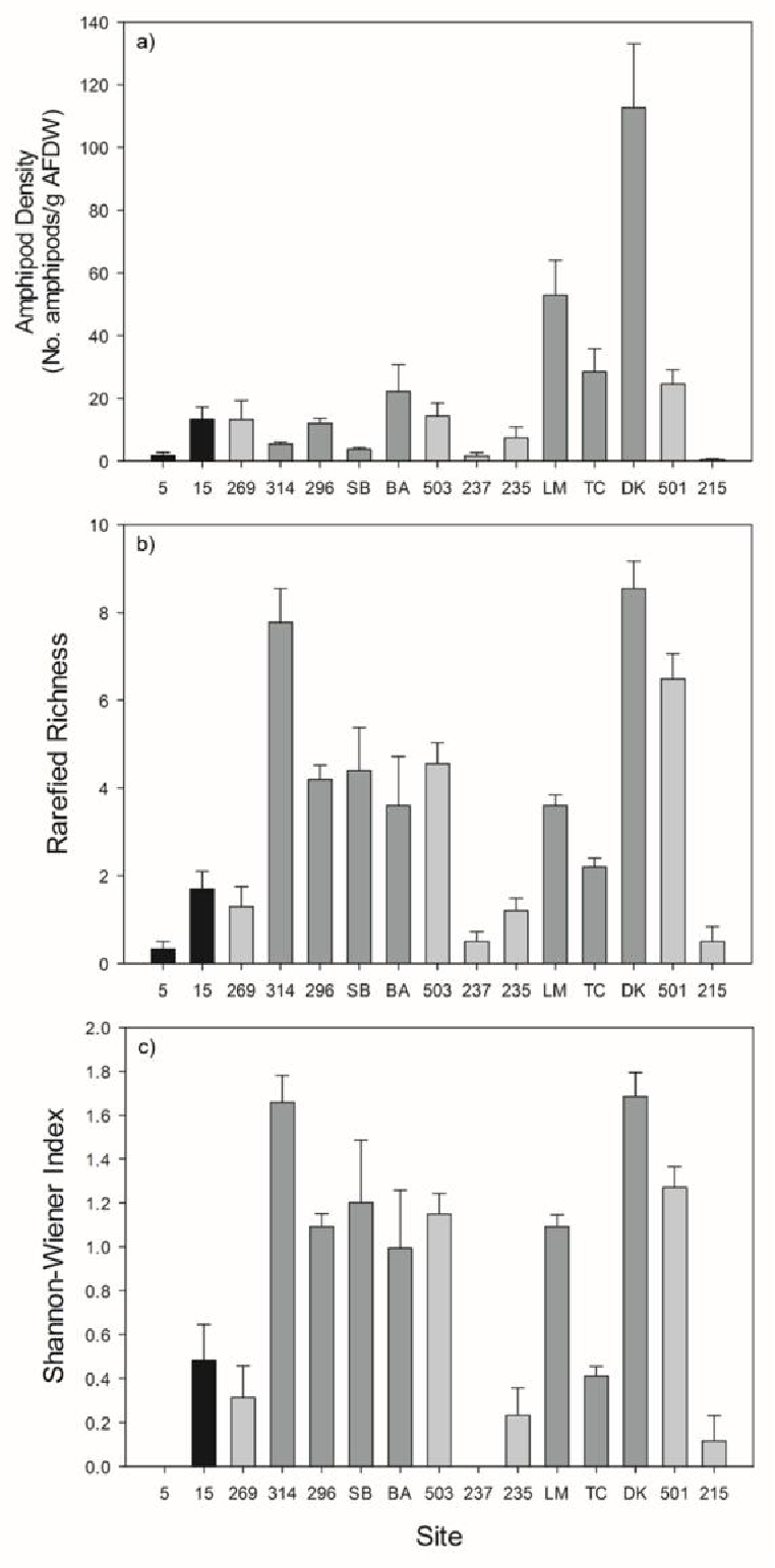 Figure 2.3. Bar plots of a) amphipod density, b) species richness, and c) Shannon-Wiener diversity index by site. Error bars are standard errors. For significance see Table 2.2. Shading of boxes represents general location where black boxes are DRTO sites, light grey boxes are oceanside, and dark grey boxes are bayside and Florida Bay. Shading of bars is for illustrative purposes only.