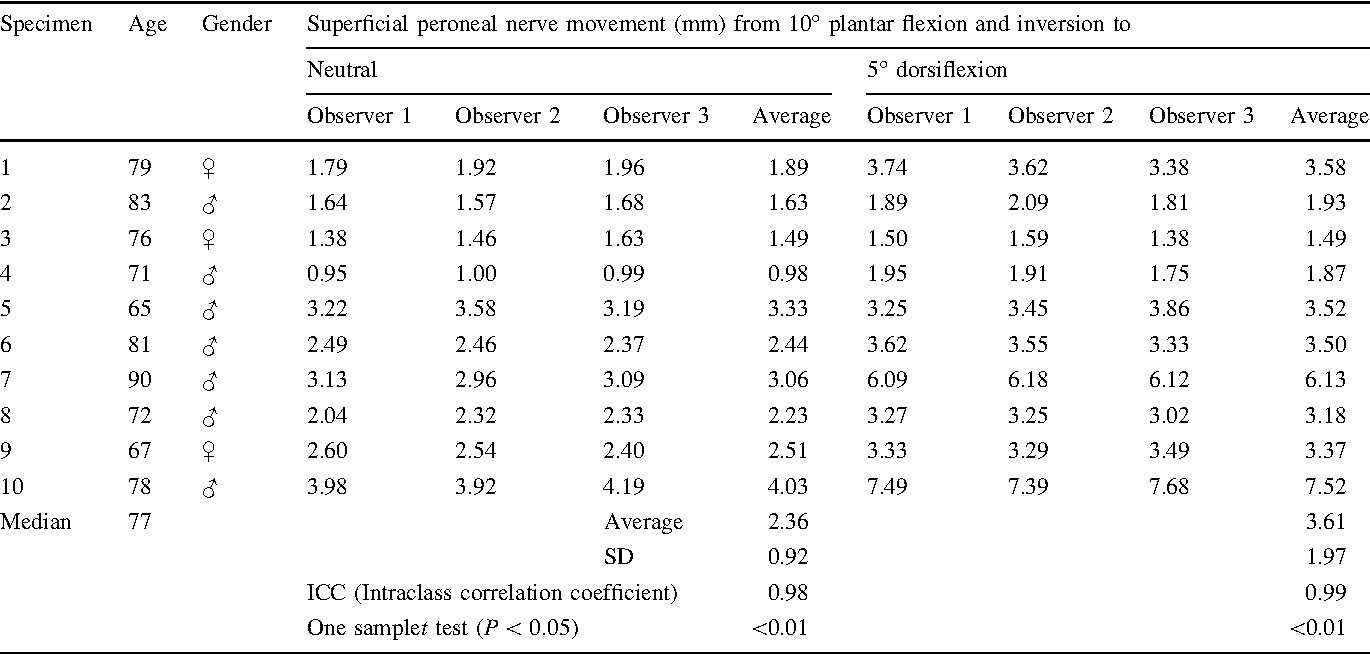 Table 1 from The course of the superficial peroneal nerve in ...