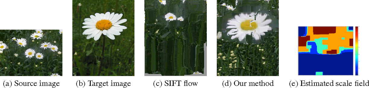 Figure 1. We find dense correspondence from (a) to (b), then use dense correspondence to warp the source image to the target image. (c)(d) are warped image from SIFT flow and our method respectively. (e) shows the estimated scale field.