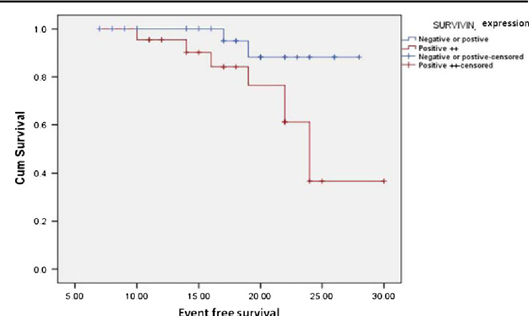 Fig. 5 Kaplan–Meier eventfree survival of diffuse large B cell lymphoma patients in relation to survivin expression