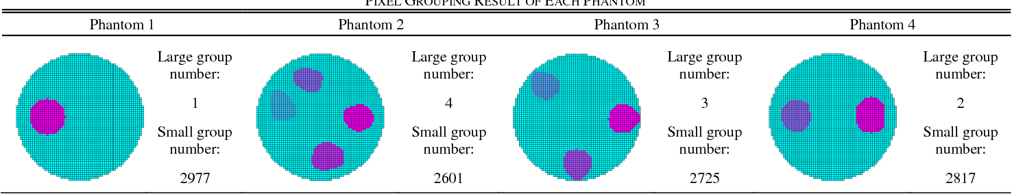 TABLE IV PIXEL GROUPING RESULT OF EACH PHANTOM