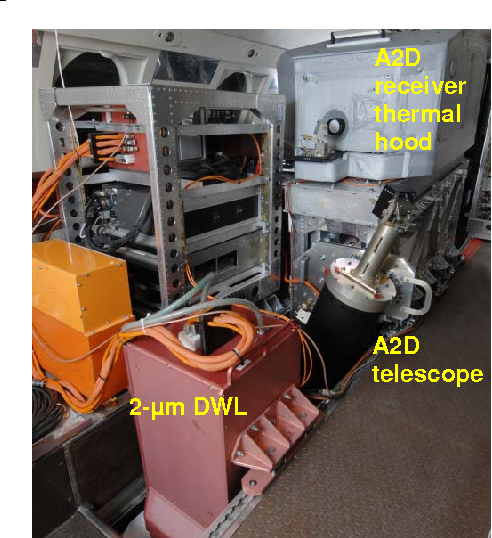 Figure 2. The ALADIN airborne demonstrator A2D and the 2-µm Doppler Wind Lidar DWL integrated in the DLR Falcon 20 aircraft during the first airborne campaign in November 2007.