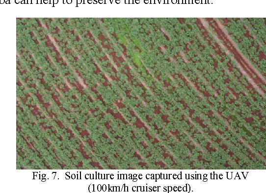 Fig. 7. Soil culture image captured using the UAV (100km/h cruiser speed).