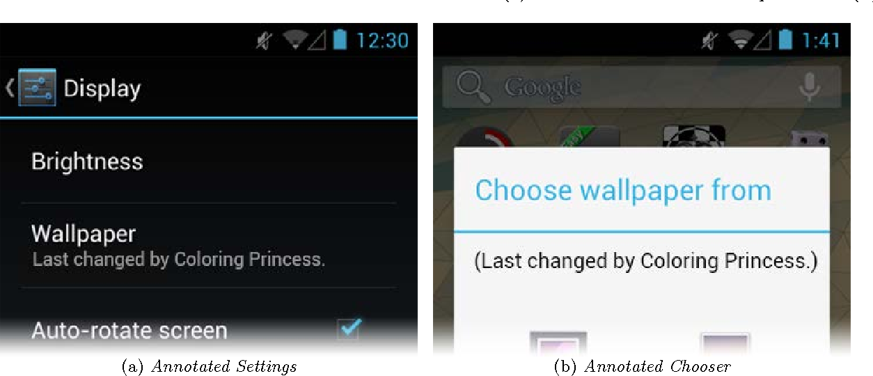 Figure 2: The wallpaper change attribution in the Display Settings (a) and in
