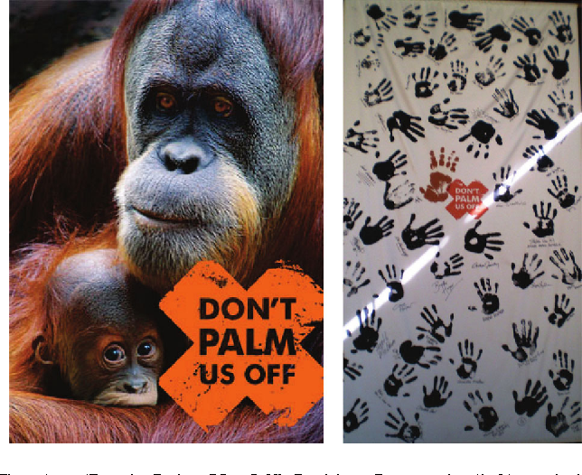 Fig. 1. 'Don't Palm Us Off' Petition Postcards (left) and the 'Don't Palm Us Off' banner of support (right) which was displayed at the exhibit during the campaign.