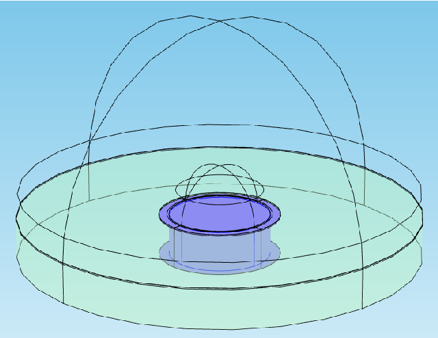 Figure 1: Model used is this simulation consisting of several domains. Here the glass substrate is in green and the electrode with its nano-edge in blue.