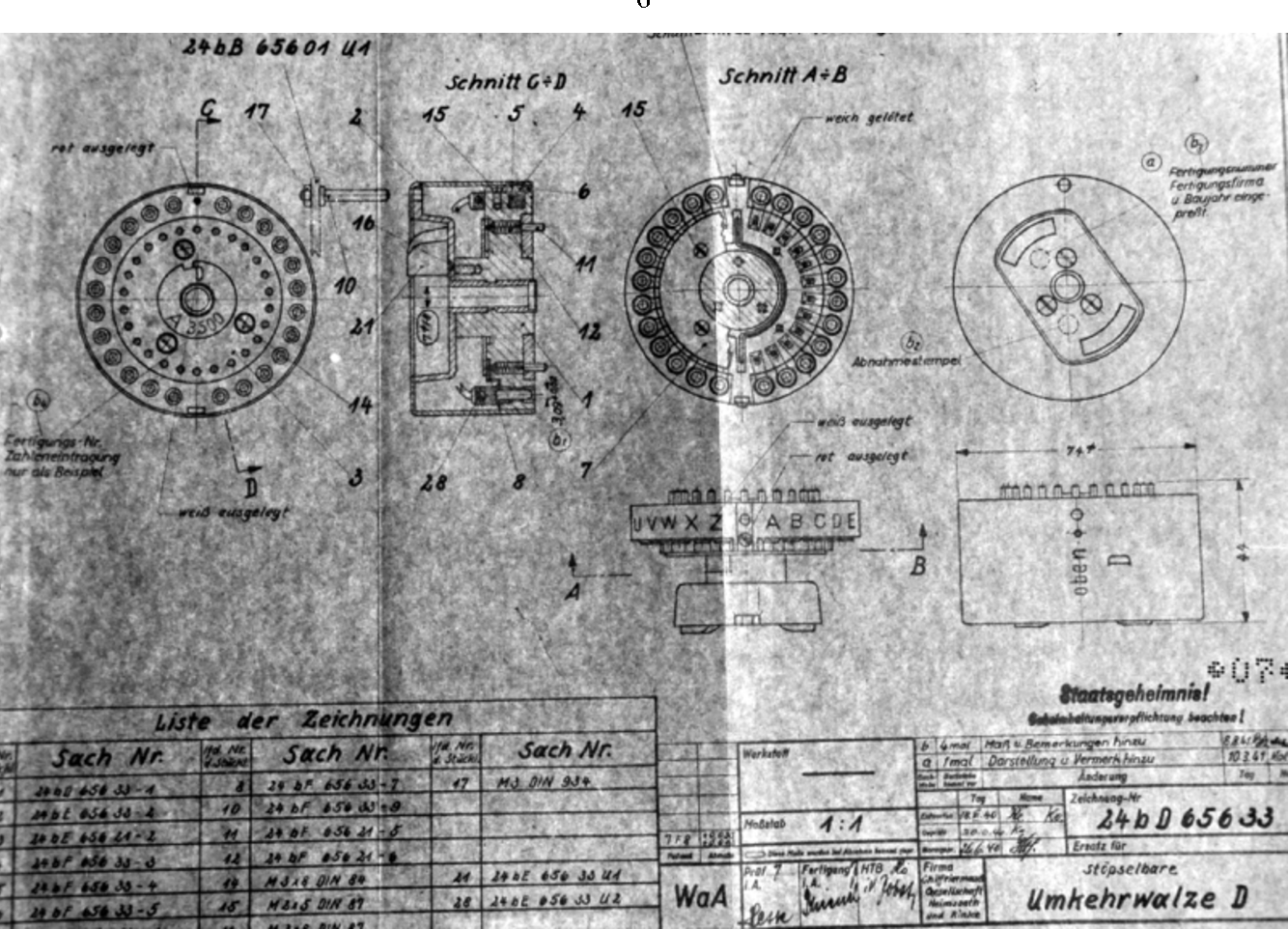 Figure 3 From History And Modern Cryptanalysis Of Enigmas Pluggable Electrical Wiring Authentic Technical Drawing Ukwd 18 June 1940 The