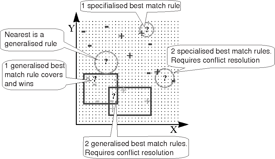 Fig. 3. RISE identifying the winning rule when classifying a test example