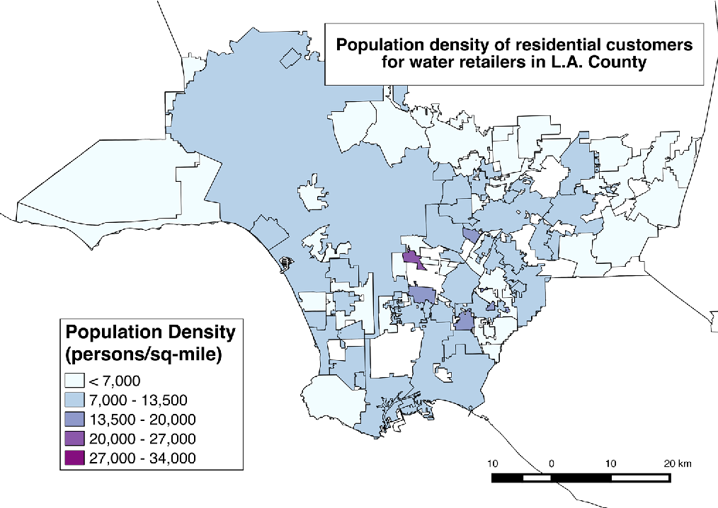 Fig. 3 Geographic distribution of population density (persons/ sq-mi) across water retailers in Los Angeles County. Geographic area was calculated using QGIS geometry functions, while population data were derived from the State Water Resources Control Board. Only retailers with verifiable population estimates as reported to SWRCB are included Source: SWRCB 2015 per capita use database