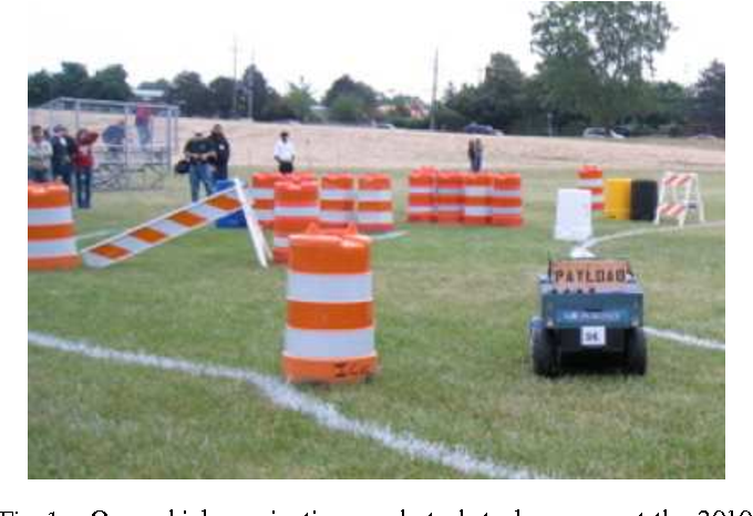 Fig. 1. Our vehicle navigating a robot obstacle course at the 2010 Intelligent Ground Vehicle Competition