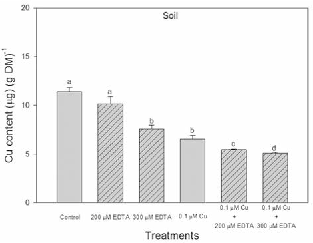 Figure 1. Plant-available copper concentration in soil extracts after harvest of sweet sorghum plants treated with 0.1 μM CuCl2 alone or in combination with 200 or 300 μM EDTA. Results are means ± SE, n = 9. Means denoted by different letters are significantly different at P ≤ 0.05 as determined by Duncan's multiple range test