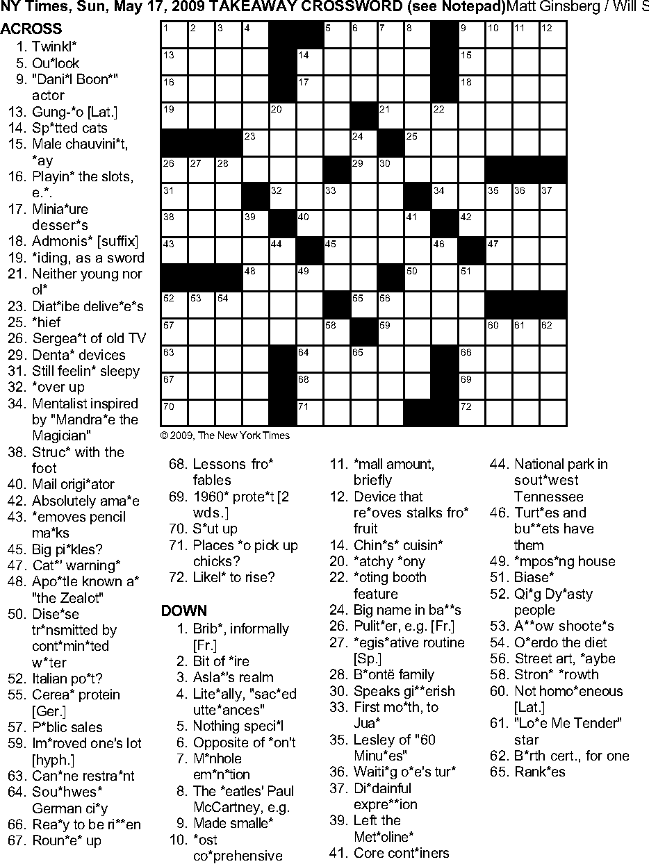 Figure 2: A difficult themed crossword. c©2009 The New York Times.