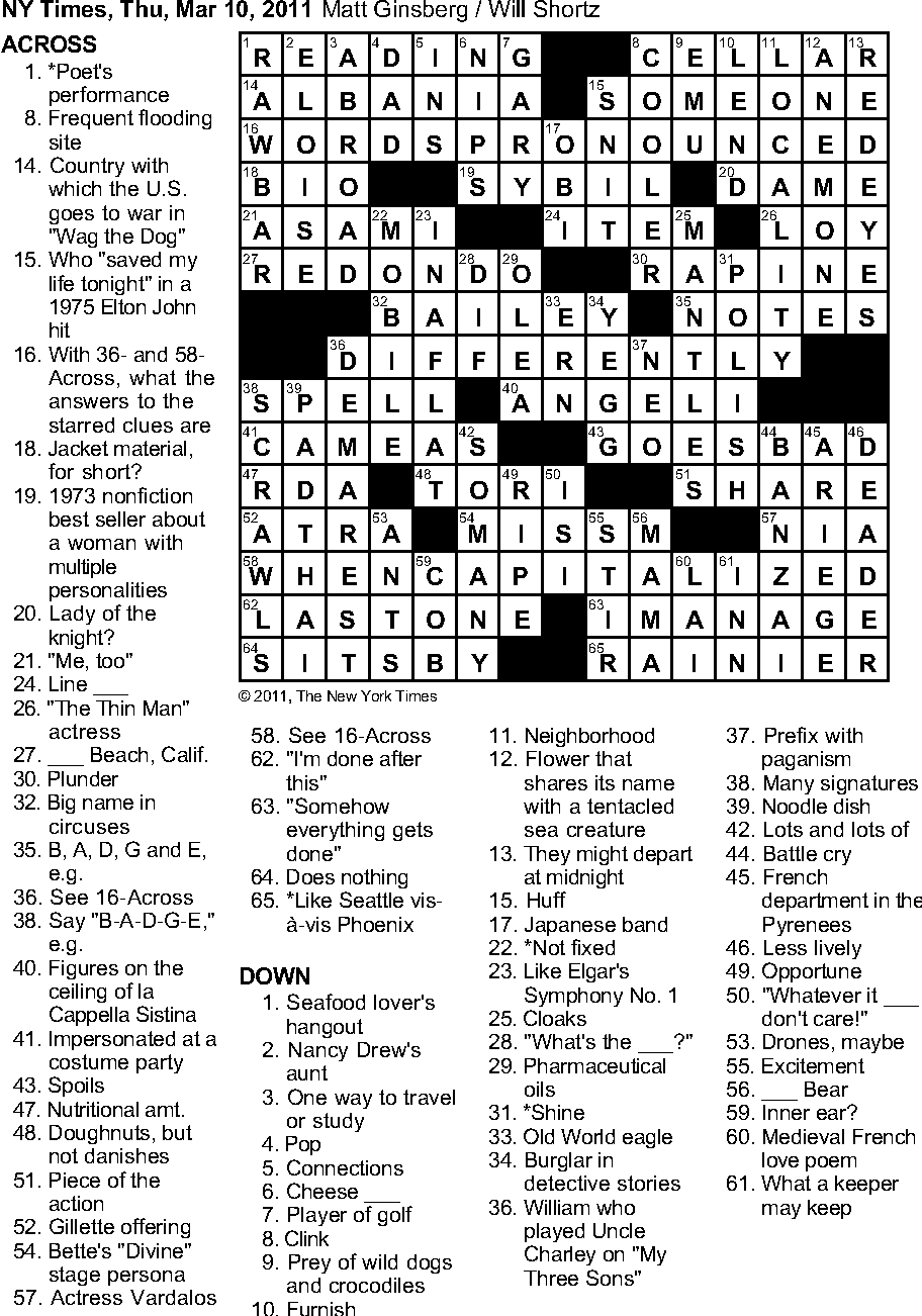 Figure 1: A Thursday New York Times crossword. c©2011 The New York