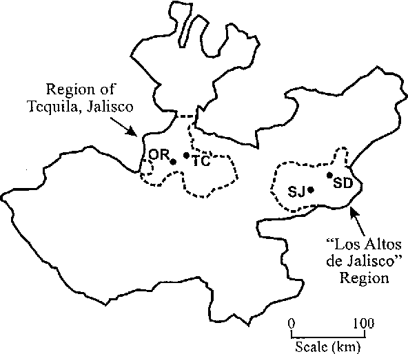 Figure 1. Map of the state of Jalisco showing the locations of the four field sites surveyed in this analysis. OR = Orendain; TC = Tequila Cuervo; SD = Santo Domingo and SJ = San Juan.
