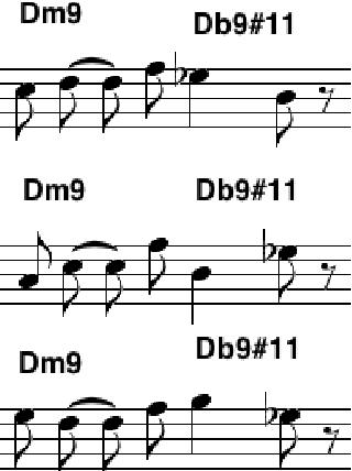 Fig. 4. Licks over Dm9 Db9#11 in the pattern (C8 C4 S8 C8 S8 R8)