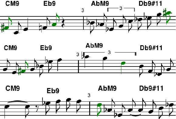 Fig. 5. Licks over CM9 Eb9 AbM9 Db9#11