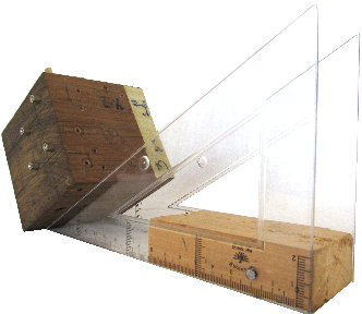 Fig. 6: Gyroscope setup - Carpenter's squares were used to assure an exact orientation