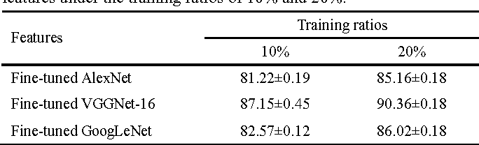 Table 6. Overall accuracies (%) of three kinds of fine-tuned deep CNN features under the training ratios of 10% and 20%.