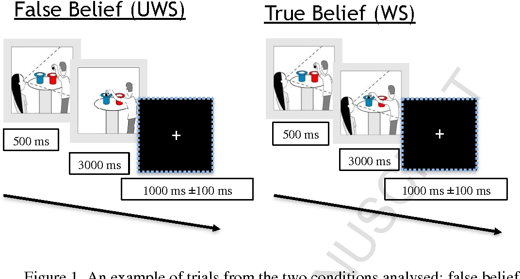 Figure 1. An example of trials from the two conditions analysed: false belief (UWS) and true