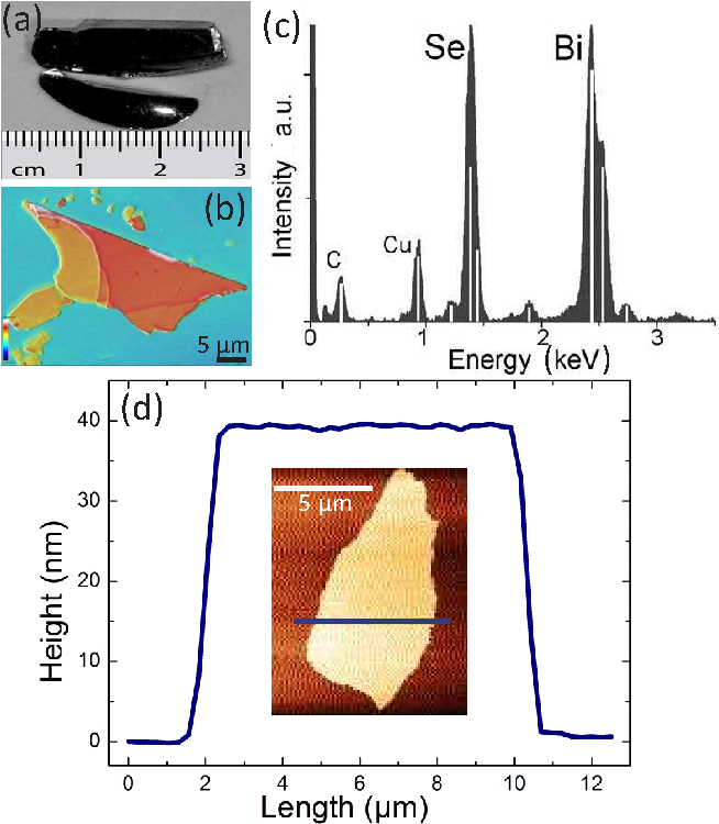Figure 2. (a) Image of bulk Bi2Se3 crystal. (b) Confocal microscope image of an inhomogeneously thick Bi2Se3 micro flake. (c) EDX spectrum used for the compositional analysis. C and Cu peaks stem from the carbon-coated copper-grid. (d) AFM image of a 39 nm thick Bi2Se3 micro flake.