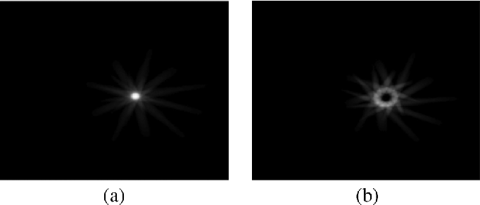 Fig. 3. Backprojected images using voxel-driven backprojection: (a) using exact parameter values creating an absolute maximum. (b) Using a small error in , resulting in a much lower maximum value.