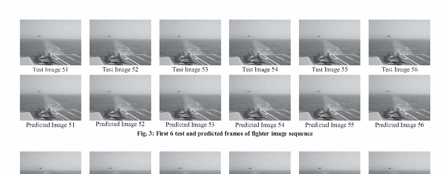 Fig. 3: First 6 test and predicted frames of fighter image sequence