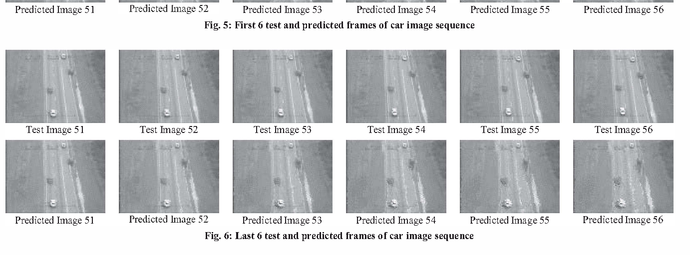 Fig. 5: First 6 test and predicted frames of car image sequence