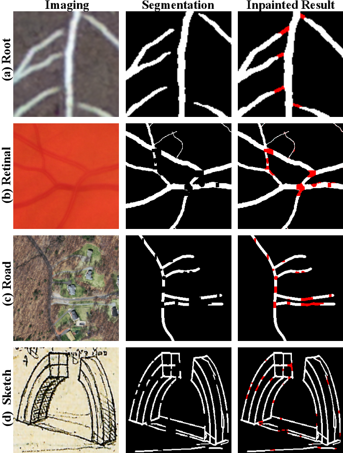Figure 1 for Blind Inpainting of Large-scale Masks of Thin Structures with Adversarial and Reinforcement Learning