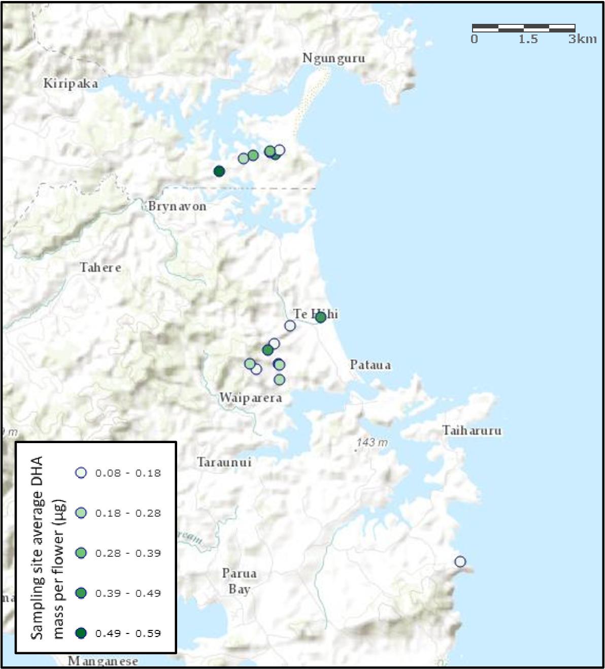 Figure 39: Manuka flower sampling s ites and associated av erage mass of DHA per f lower for each site.