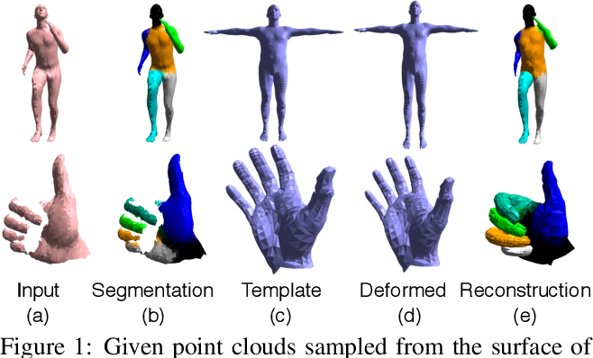 Figure 1 for LBS Autoencoder: Self-supervised Fitting of Articulated Meshes to Point Clouds