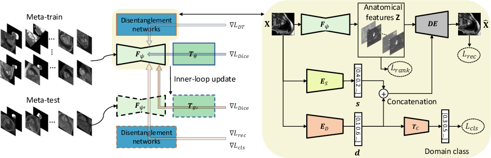Figure 1 for Semi-supervised Meta-learning with Disentanglement for Domain-generalised Medical Image Segmentation