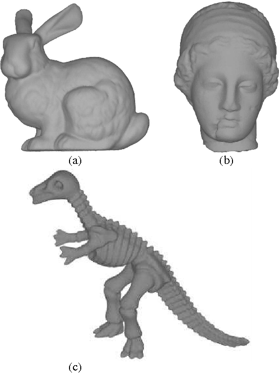 Figure 6: The models. (a) Stanford bunny, (b) Hygea and (c) Dinosaur.