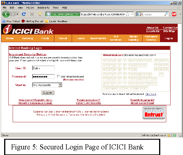 Figure 5: Secured Login Page of ICICI Bank