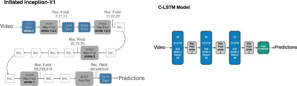 Figure 1 for Interpreting video features: a comparison of 3D convolutional networks and convolutional LSTM networks