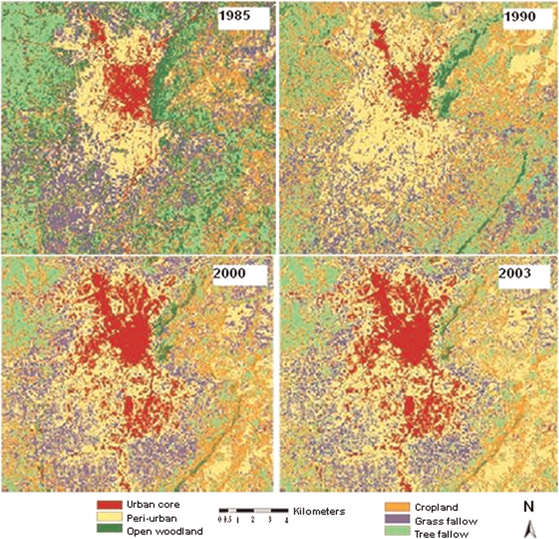 Figure 3. Historical land-cover pattern of the New Juaben municipality from 1985 to 2003 based on Landsat imagery.