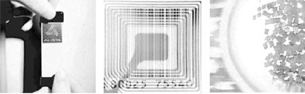 Fig. 1. A passive RFID tag, an RFID tag with a printed barcode, and dust-sized RFID microchips.