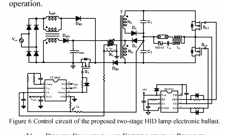 A two-stage electronic ballast for HID lamp with flyback PFC