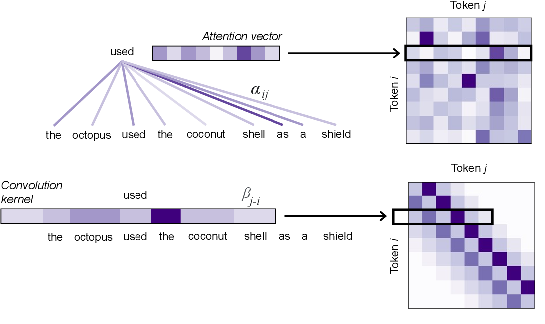 Figure 1 for Convolutions and Self-Attention: Re-interpreting Relative Positions in Pre-trained Language Models