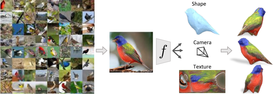Figure 1 for Learning Category-Specific Mesh Reconstruction from Image Collections