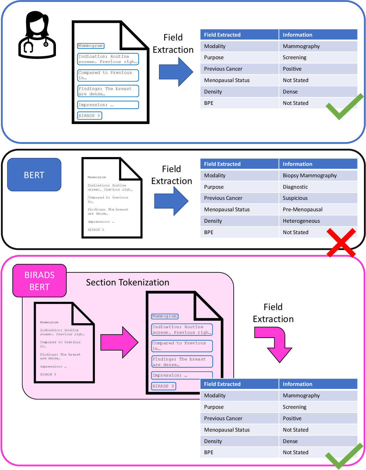 Figure 2 for BI-RADS BERT & Using Section Tokenization to Understand Radiology Reports