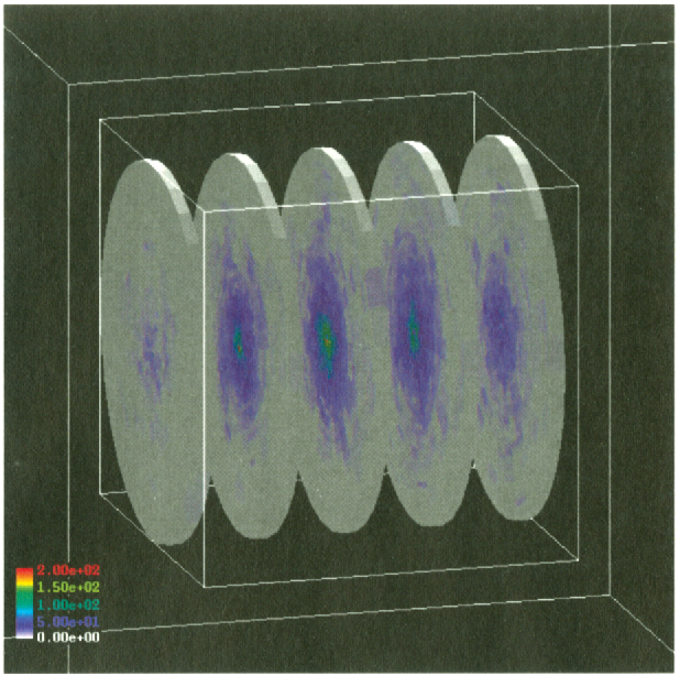 Figure 2. Example of a cylindrical scoring geometry embedded inside a large water volume. The scoring geometry is created at ~n time, in a separate parallel geometry. No checking for overlaps wIth the 'material' geometry is required as a consequence.