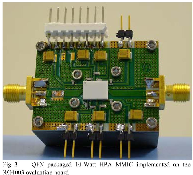 figure 3 from 3 5ghz 10 watt power amplifier for wimax application3 qfn packaged 10 watt hpa mmic implemented on the r04003 evaluation board