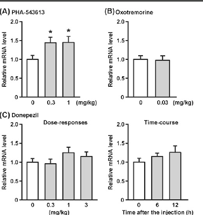 Fig. 5 Effects of PHA-543613, a selective α7 nAChR agonist; oxotremorine, a nonselective mAChR agonist; and donepezil, an acetylcholinesterase inhibitor, on IGF2 mRNA levels in the hippocampus of mice. a PHA-543613 (0.3, 1 mg/kg) or saline was s.c. injected 3 h before the experiments. The values obtained from the saline-treated group were arbitrarily set to 1. Data are expressed as the mean ± SEM of 12 mice/group. *P<0.05, compared with the saline-treated group. b Oxotremorine (0.03 mg/kg) or saline was i.p. injected 3 h before the experiments. The values obtained from the saline-treated group were arbitrarily set to 1. Data are expressed as the mean ± SEM of 12 mice/ group. c Effect of donepezil at different doses (left) and time (right). Left: Donepezil (0.3–3 mg/kg) or saline was i.p. injected 3 h before the experiments. The values obtained from the saline-treated group were arbitrarily set to 1. Data are expressed as the mean ± SEM of 12 mice/ group. Right: Mice were i.p. injected with donepezil (3 mg/kg), and the samples were collected immediately, 6, and 12 h after the treatment. The values obtained from the group immediately after the treatment were arbitrarily set to 1. Data are expressed as the mean ± SEM of 11 mice/group