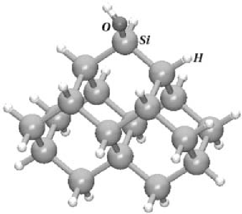 Fig. 3 – Si18 H-terminated cluster used to simulate the silicon surface in ab initio calculations. This cluster has a single hydroxyl group adsorbed on the apex and represents an example of the ten different hydroxyl configurations studied.
