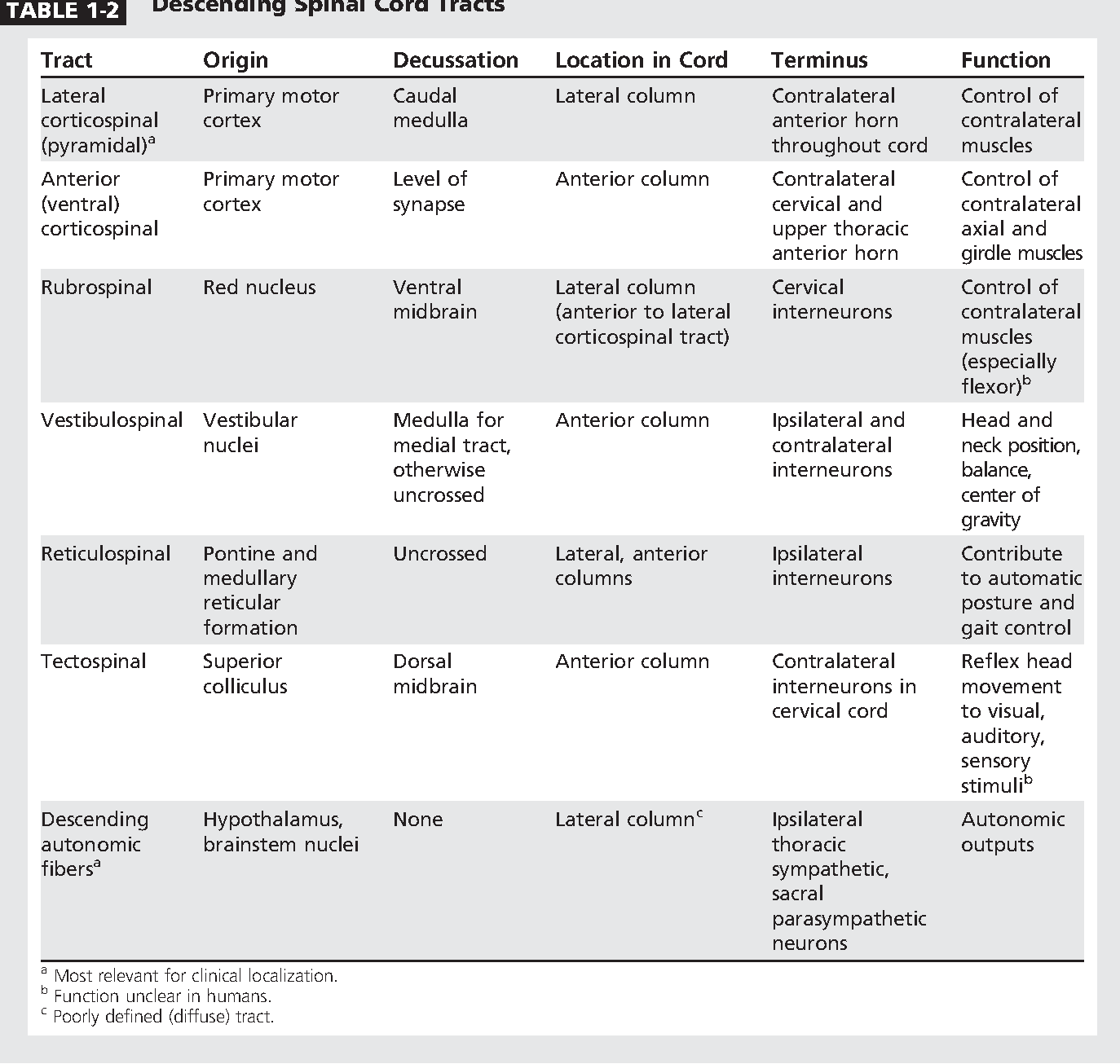 Table 1-2 from Spinal cord functional anatomy. - Semantic Scholar